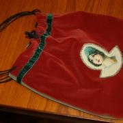 Groen/Rood Fluwelen Tasje - 32x30cm - €25,-